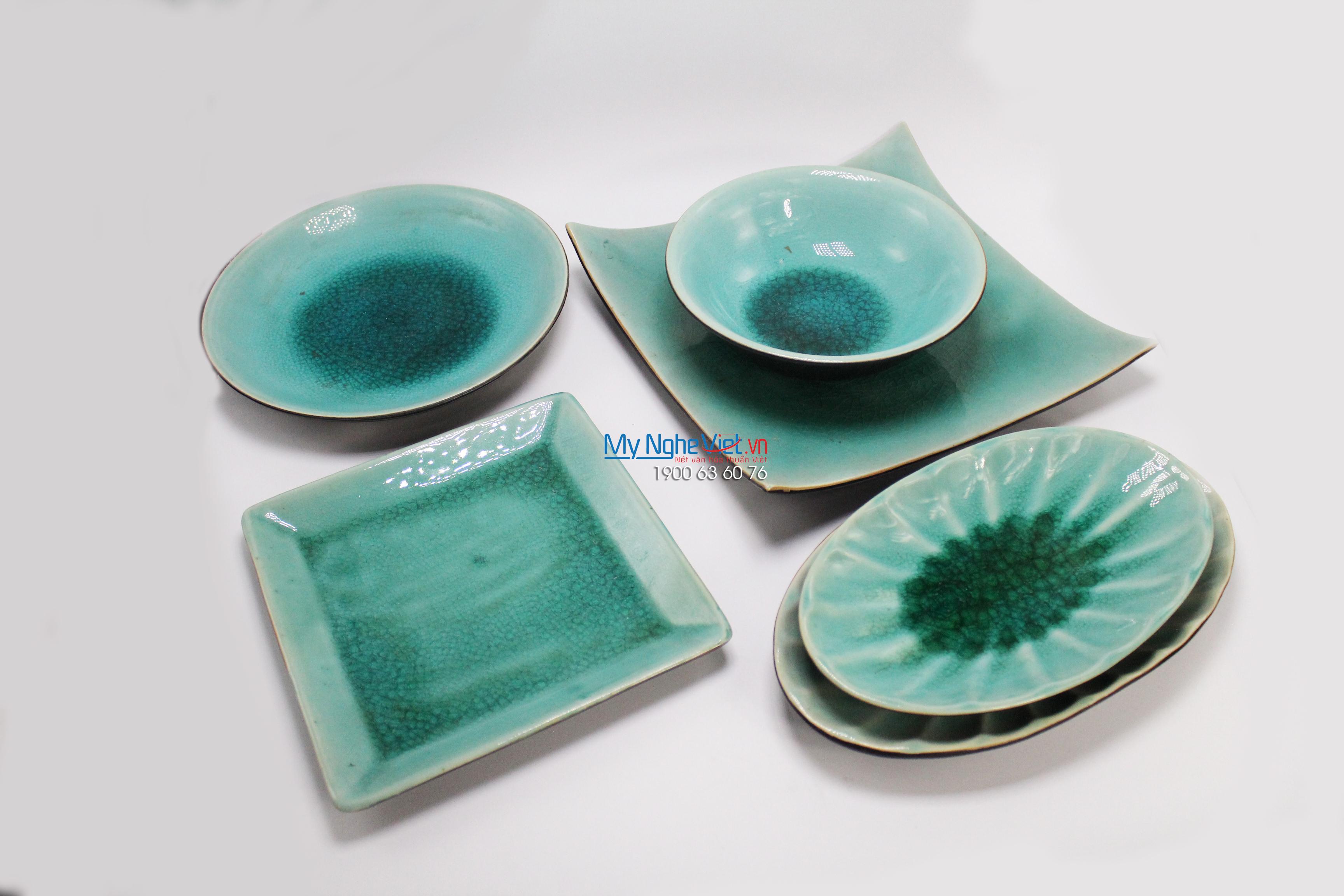 Bộ chén dĩa bàn ăn gốm Bát Tràng men thủy tinh MNV-BBA05