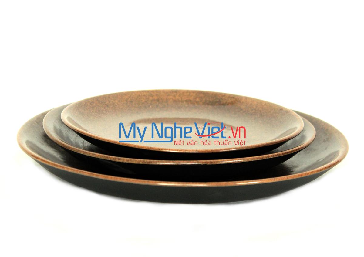 Đĩa men nâu gốm MNV-MN02 (nhiều sze)