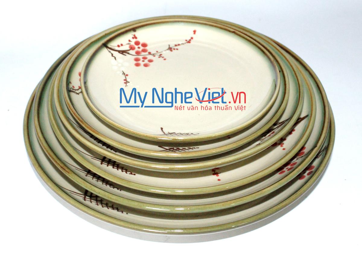 Đĩa tròn men láng vẽ hoa đào MNV-HD02