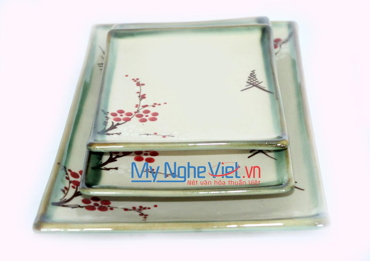Khay chữ nhật men láng vẽ hoa đào MNV-HD11