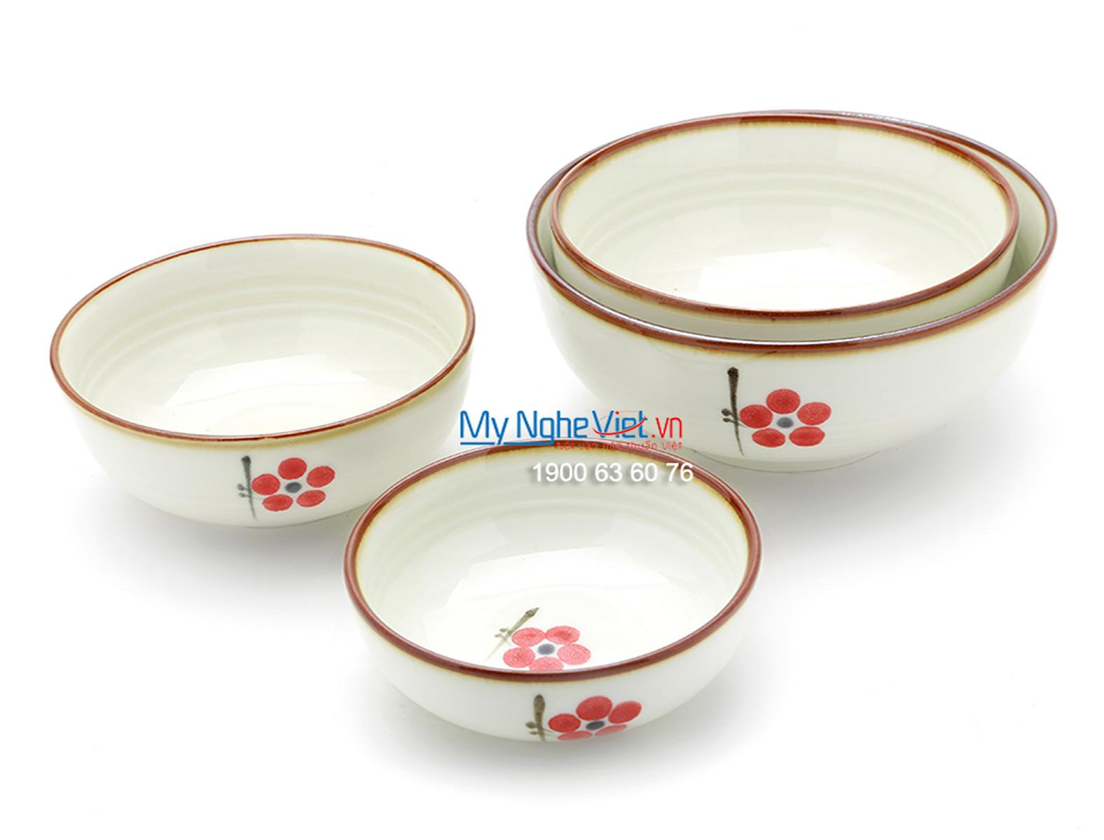 Bát tô men trắng láng vẽ hoa đào MNV-BA07-7