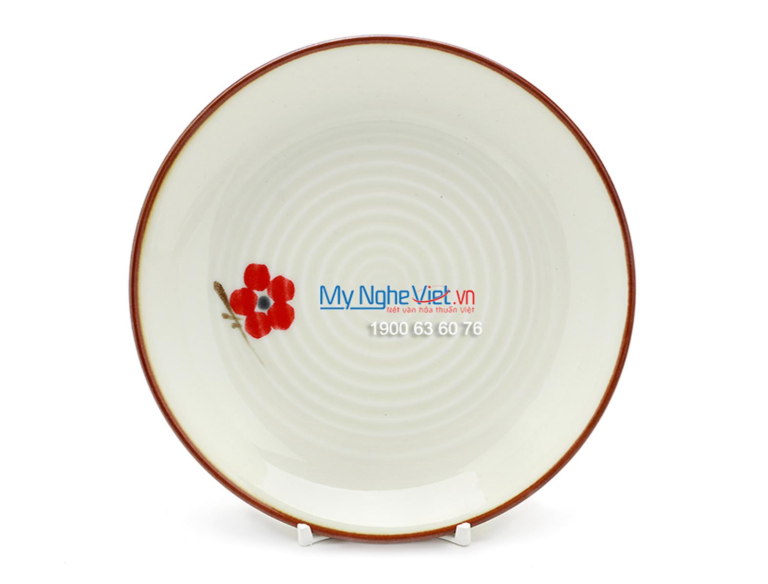 Đĩa bằng men trắng láng vẽ hoa đào MNV-BA08-7
