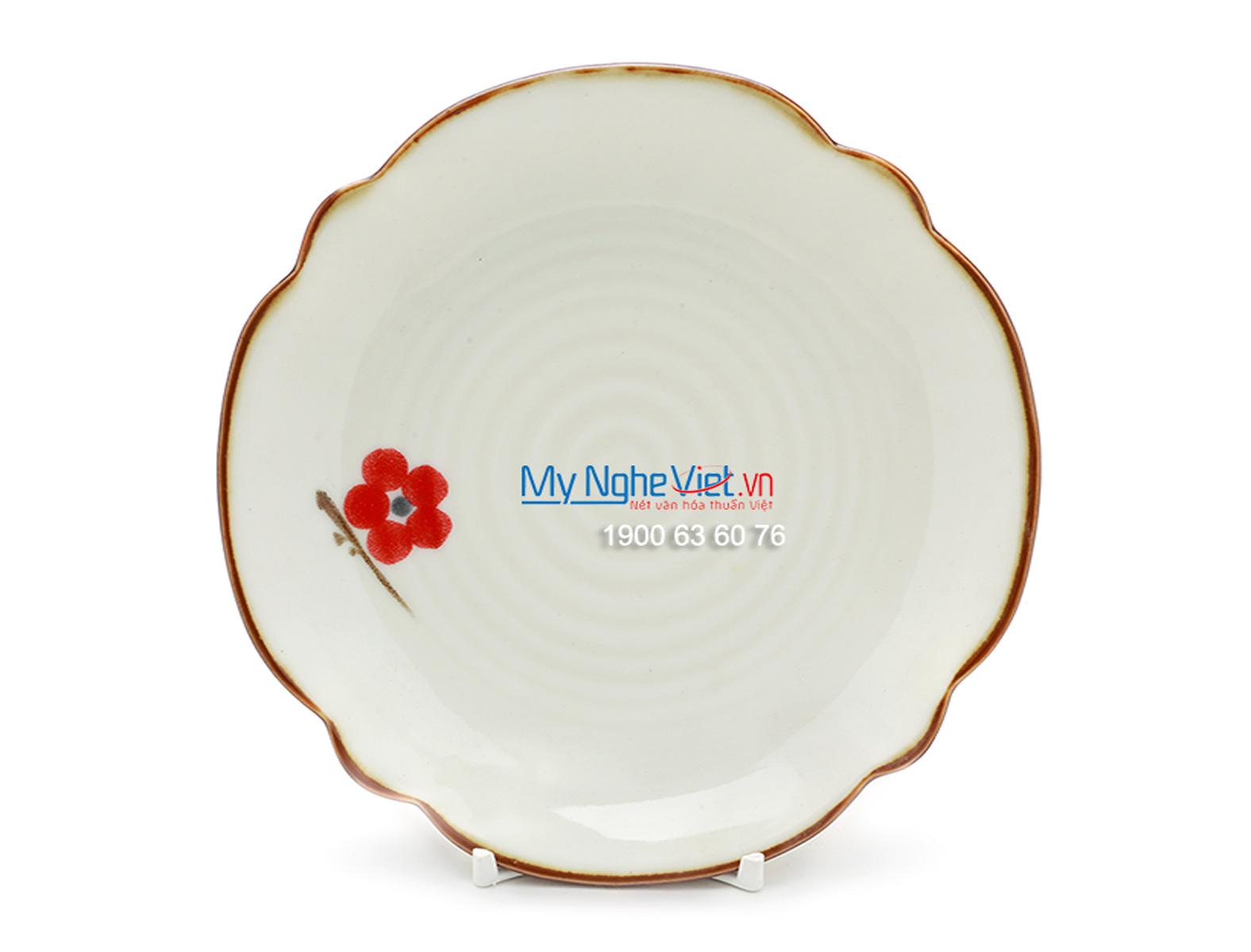 Đĩa hoa men trắng láng vẽ hoa đào MNV-BA09-7