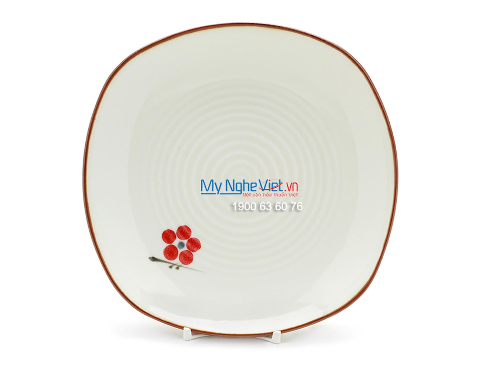 Đĩa ảo vuông men trắng láng vẽ hoa đào MNV-BA12-7