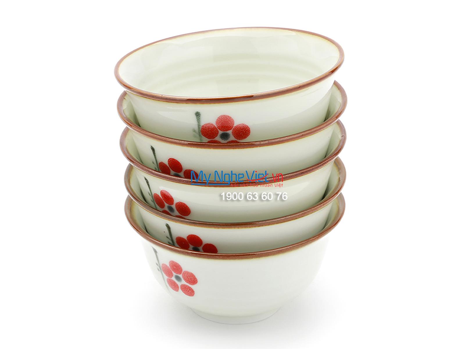 Chén ăn cơm loe men trắng  láng vẽ hoa đào MNV-BA01-7