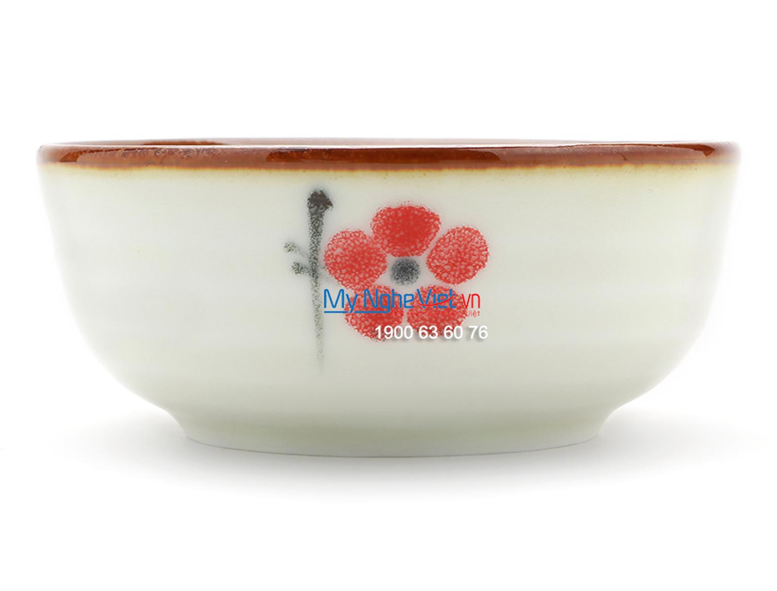 Bát mắm men trắng láng vẽ hoa đào MNV-BA03-7