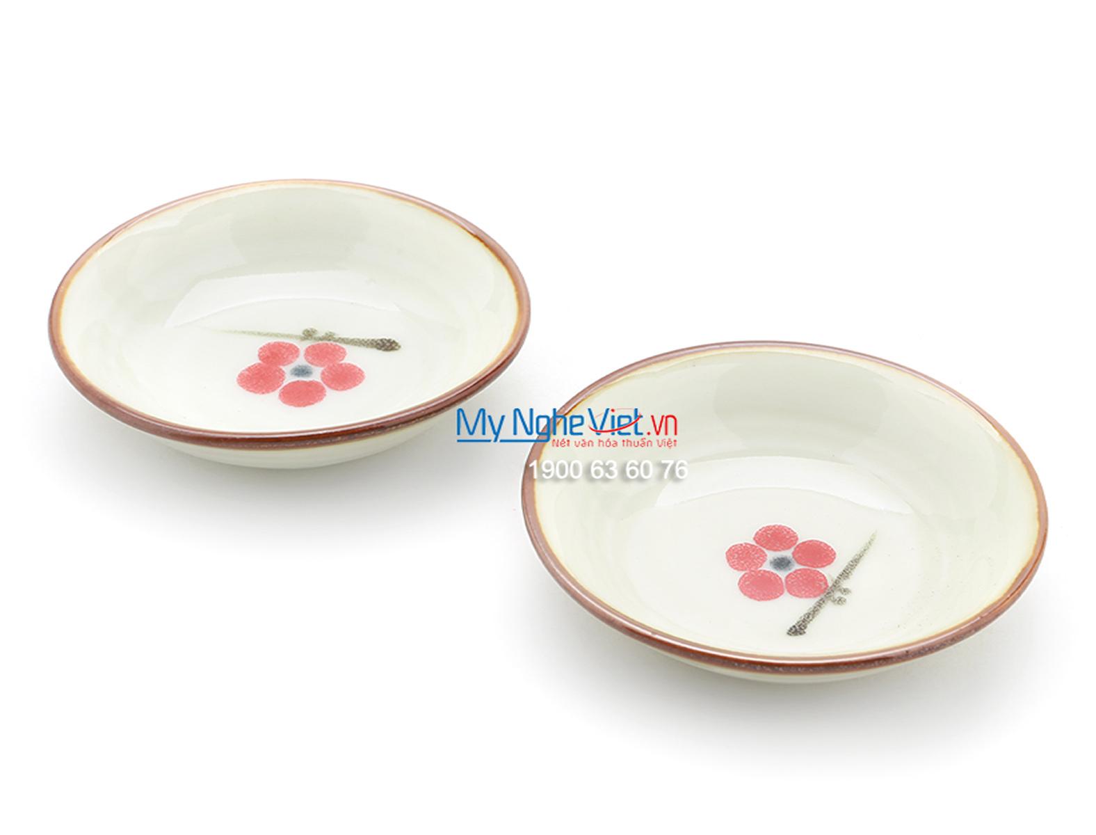 Đĩa muối men trắng láng vẽ hoa đào MNV-BA04-7