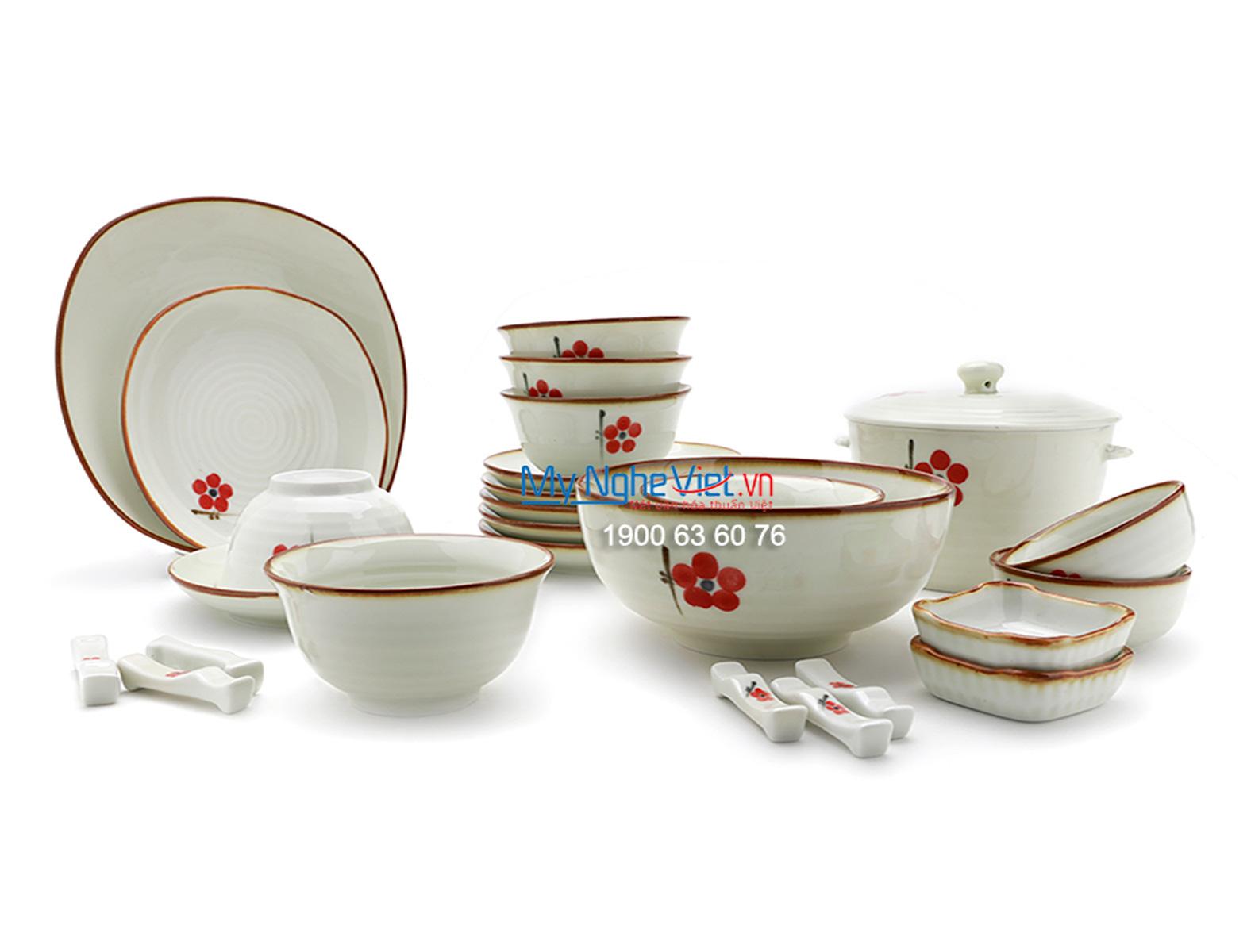 Bộ chén dĩa bàn ăn men trắng kem vẽ hoa đào đỏ 6 người  MNV-BBA01-7