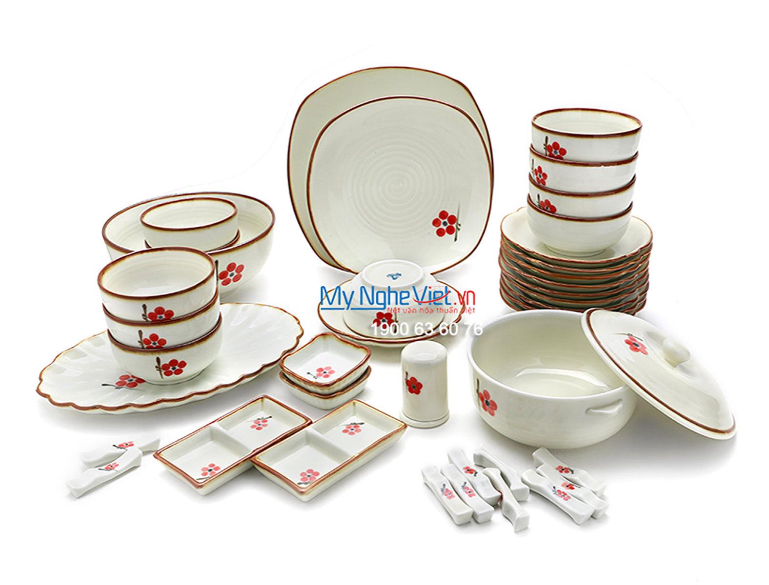 Bộ chén dĩa bàn ăn men trắng kem vẽ hoa đào đỏ 10 người  MNV-BBA02-7