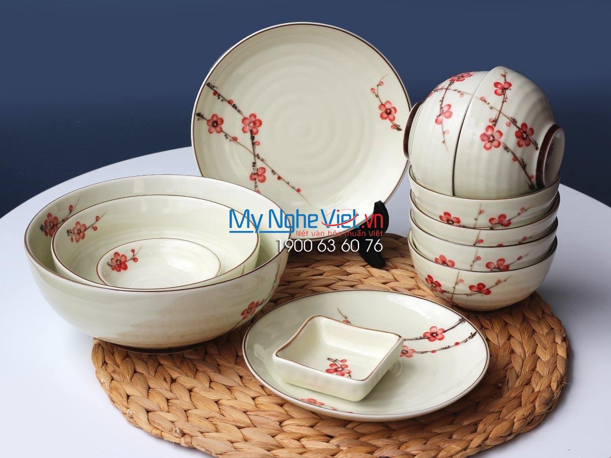 Bộ chén dĩa bàn ăn 6 người MNV-BBA02/đào đỏ 12sp