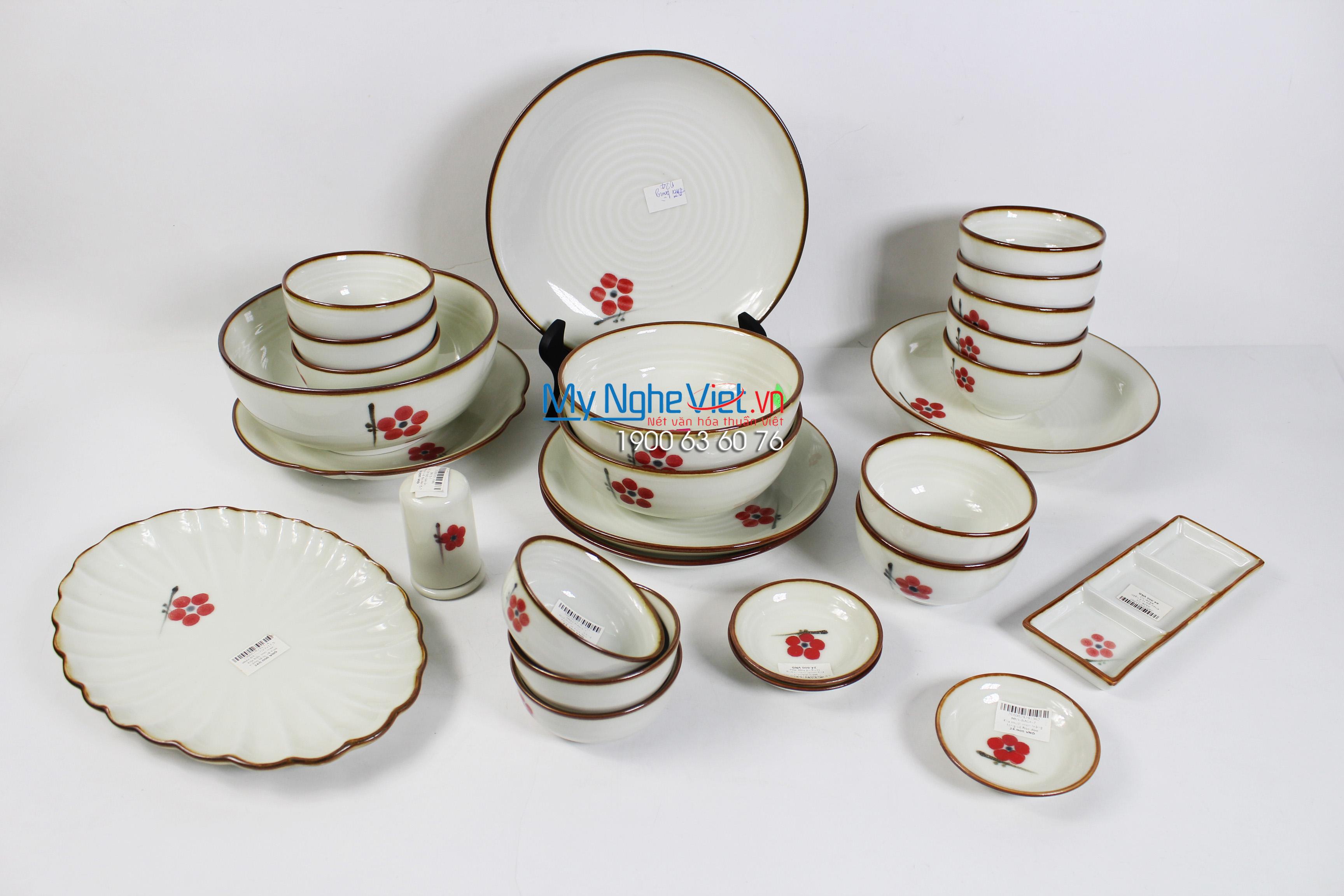 Bộ chén dĩa bàn ăn men kem vẽ hoa đào đỏ 10 người - số 1 BBA27-7