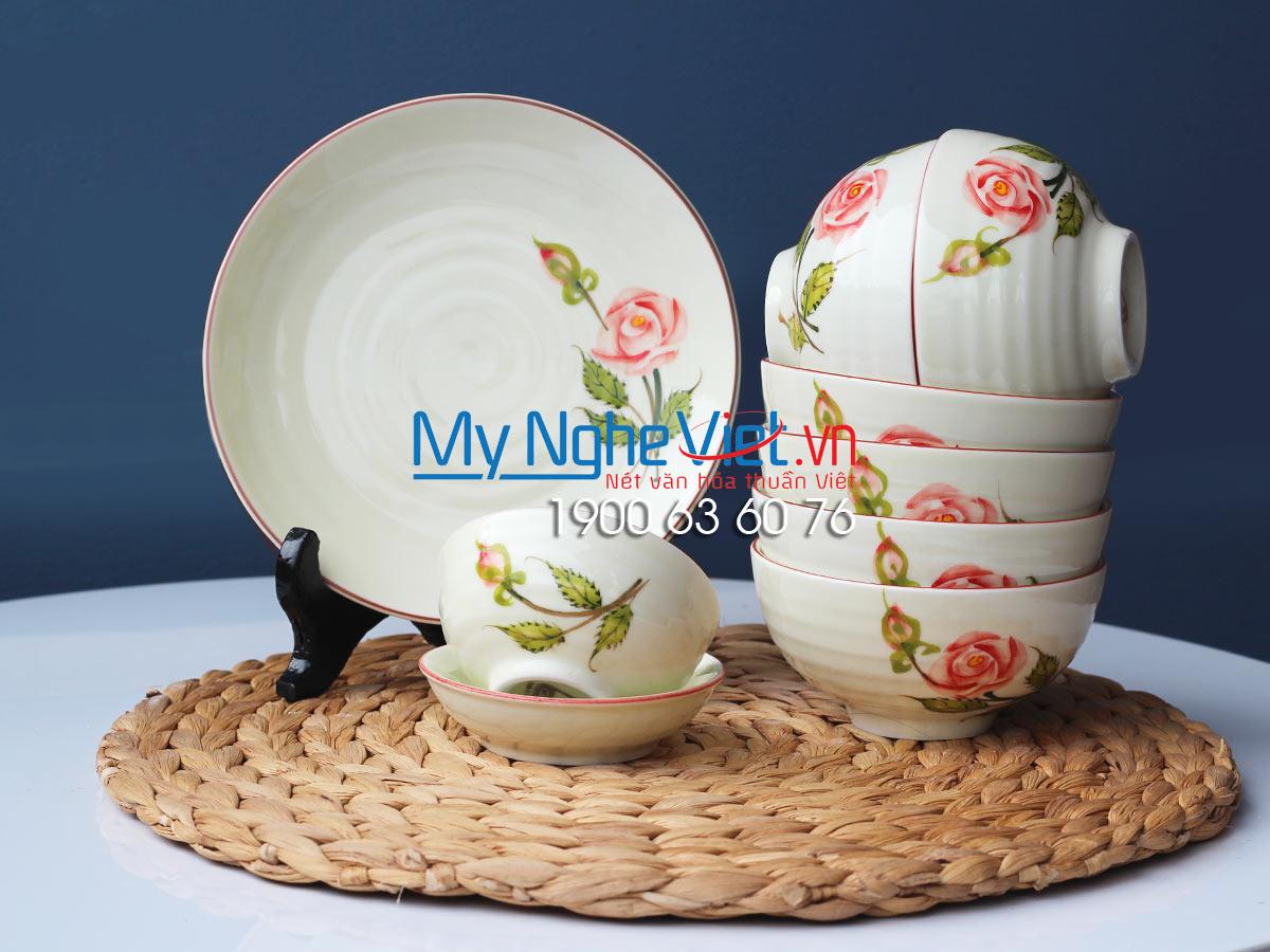 Bộ chén dĩa bàn ăn 6 người MNV-BBA02/Hoa Hồng