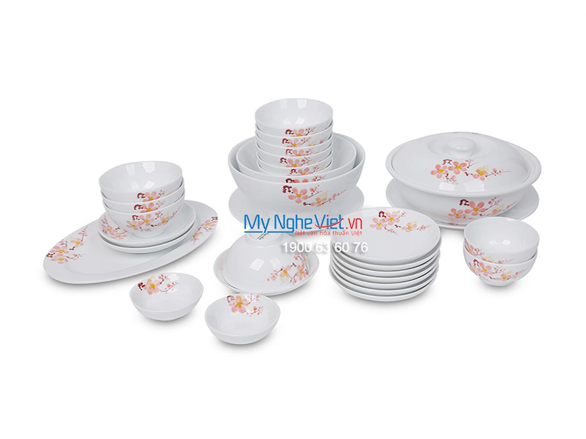 Bộ chén dĩa bàn ăn men trắng vẽ hoa đào dành cho 10 người MNV-BBA02-10