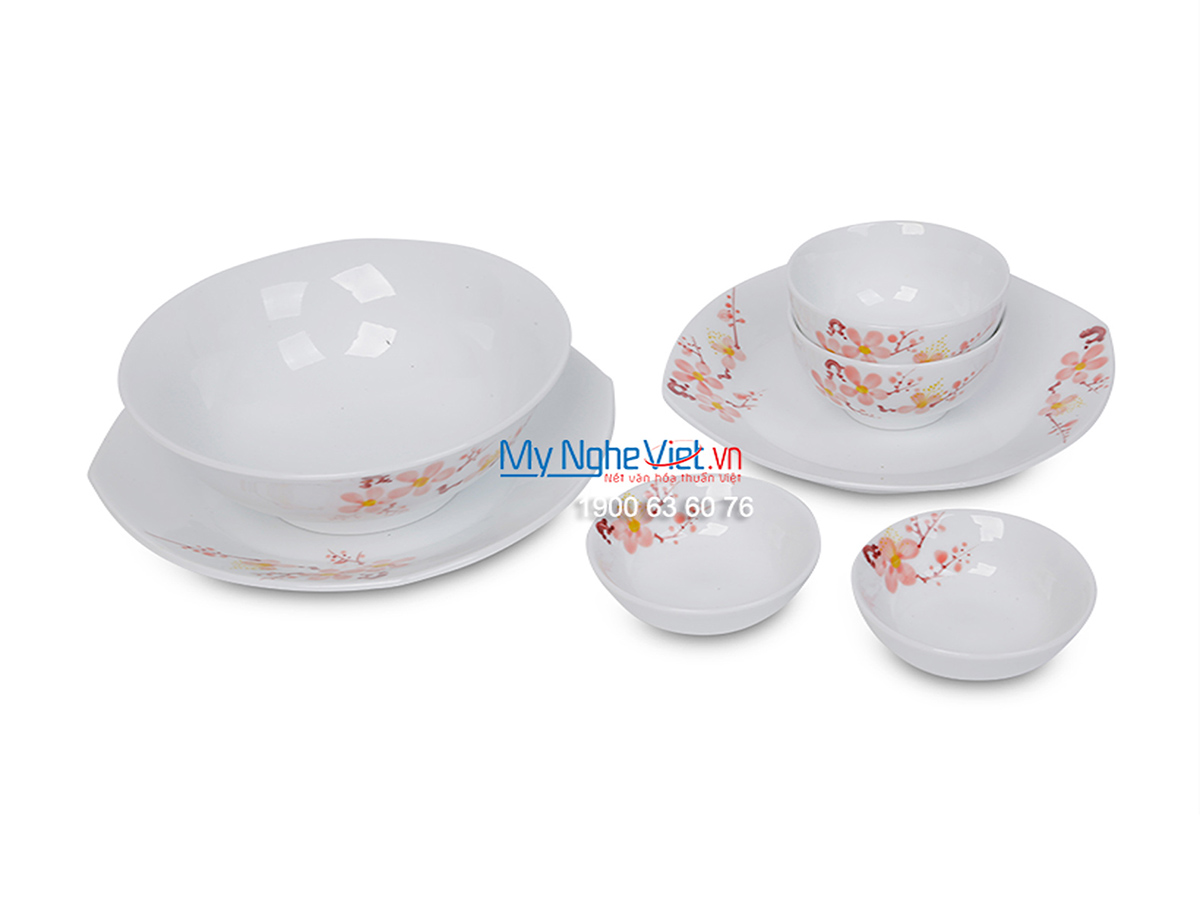 Bộ bàn ăn men trắng vẽ hoa đào dành cho 6 người MNV-BBA01-10 (Hàng đặt)