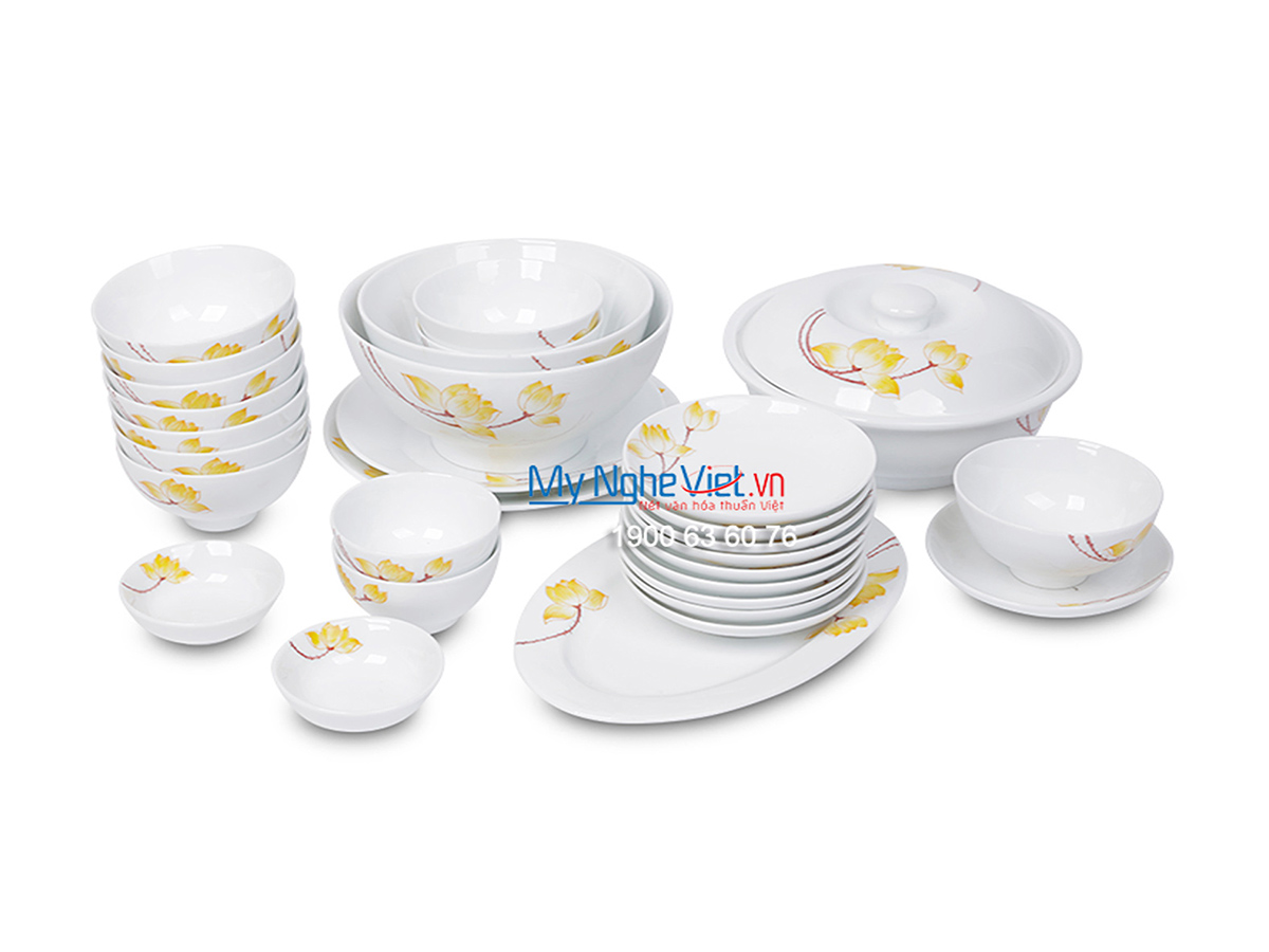 Bộ chén dĩa bàn ăn men trắng vẽ sen vàng dành cho 10 người MNV-BBA02-9