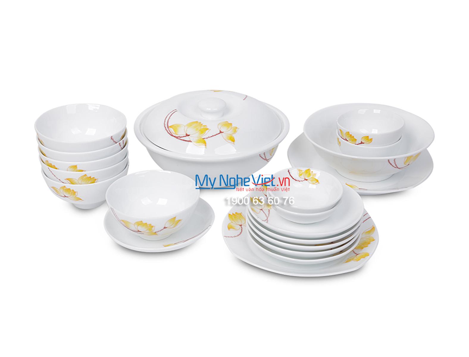 Bộ chén dĩa bàn ăn men trắng vẽ sen vàng dành cho 6 người MNV-BBA01-9