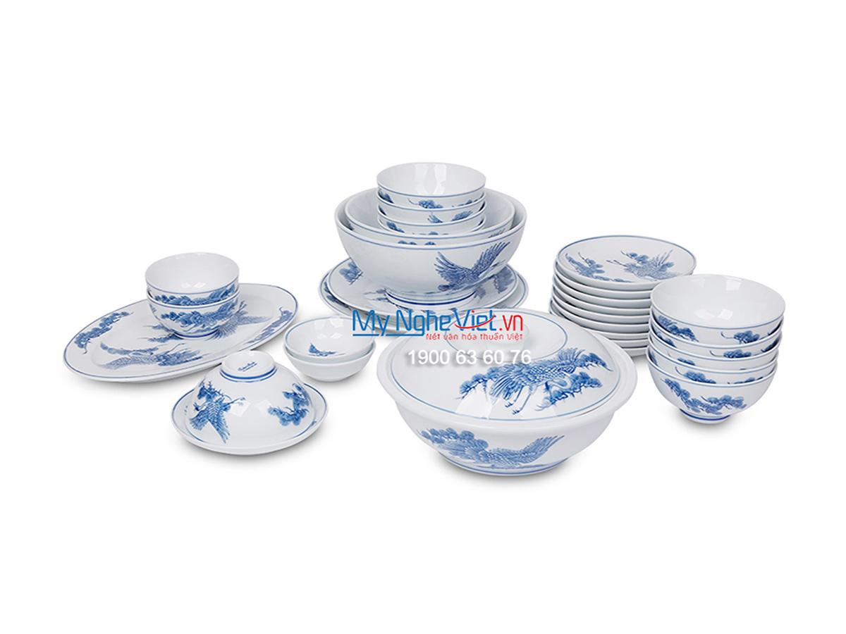 Bộ chén dĩa bàn ăn men trắng vẽ tùng hạc dành cho 10 người  MNV-BBA02-11