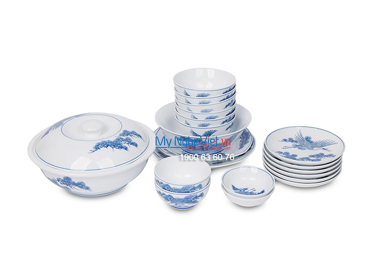 Bộ bàn ăn men trắng vẽ tùng hạc dành cho 6 người MNV-BBA01-11