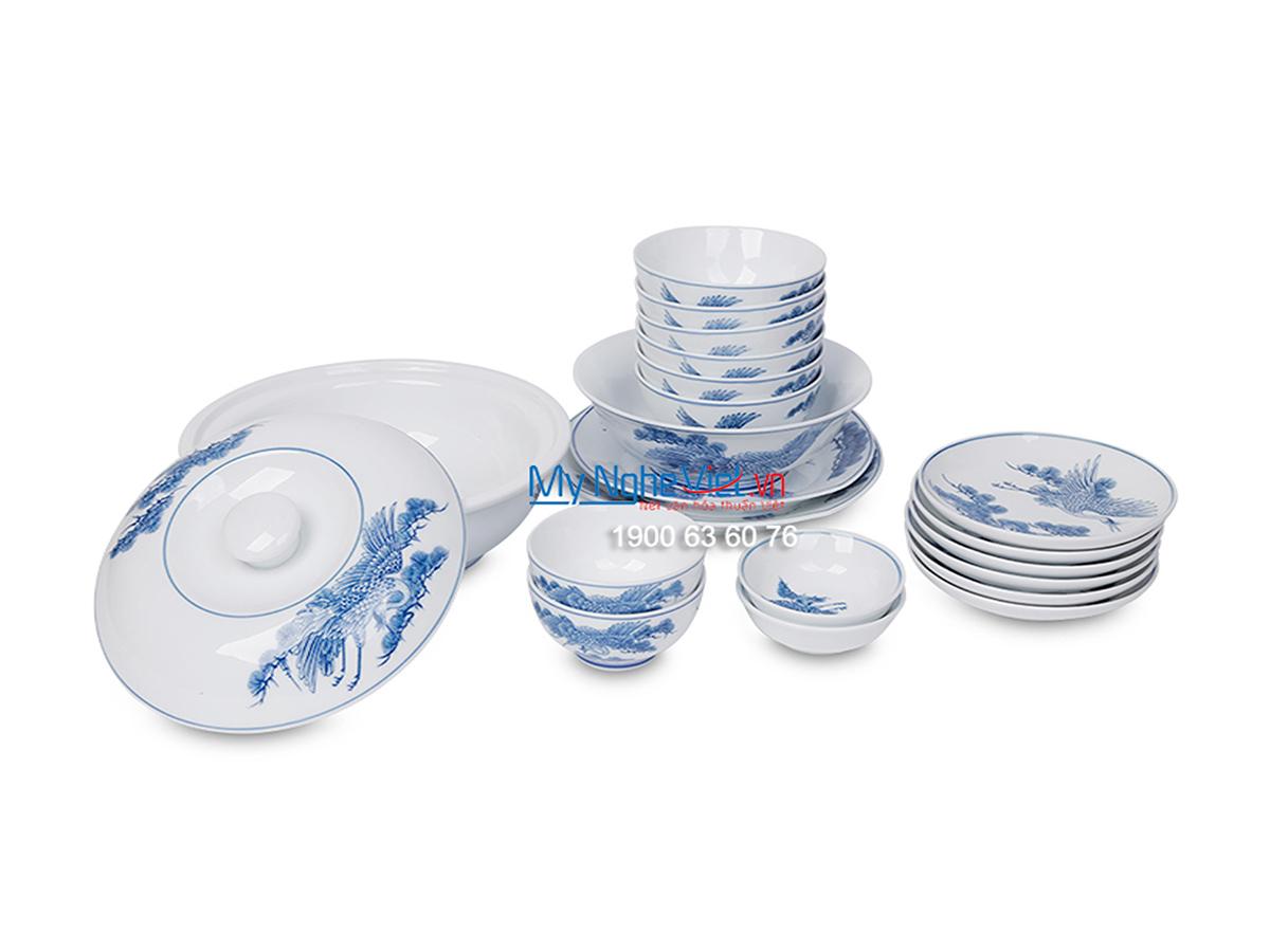 Bộ chén dĩa bàn ăn men trắng vẽ tùng hạc dành cho 6 người MNV-BBA01-11