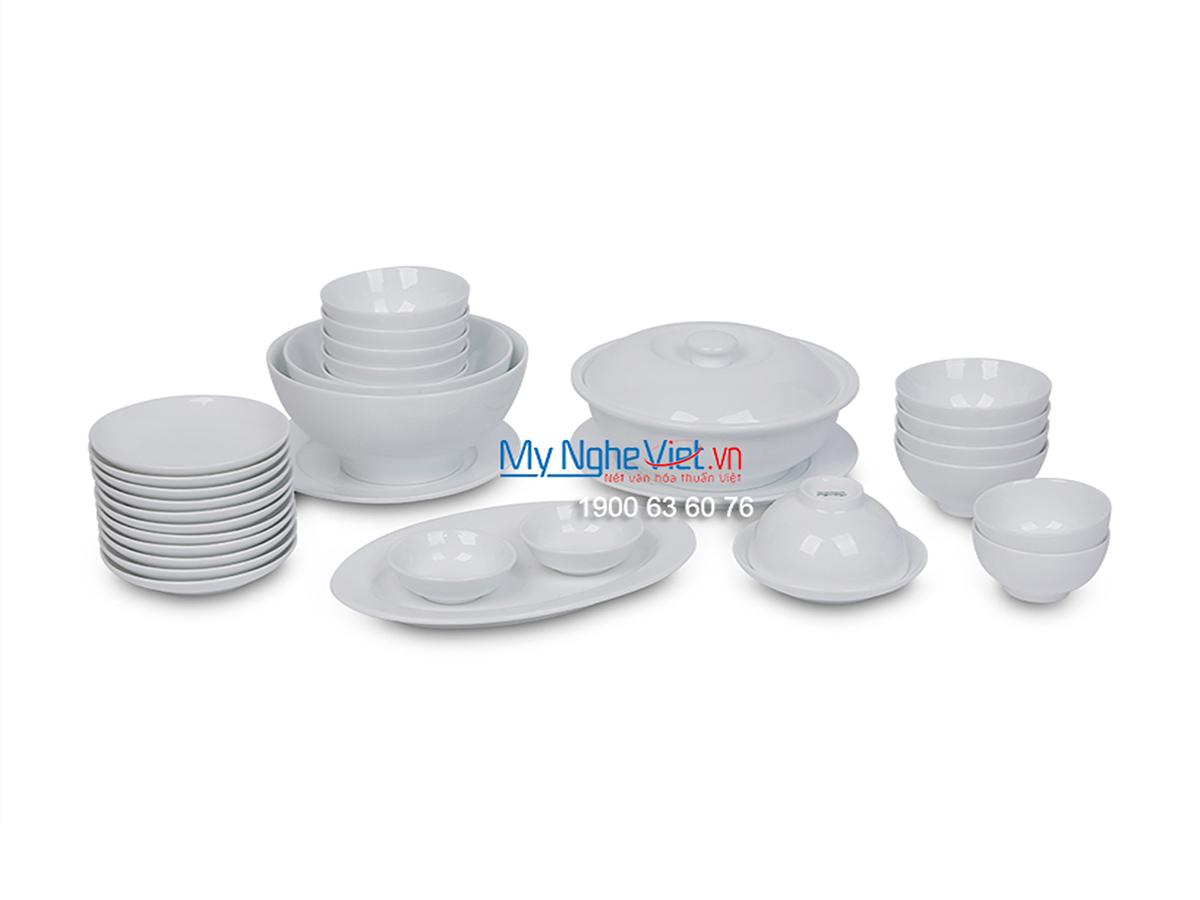 Bộ chén đĩa bàn ăn men trắng dành cho 10 người MNV-BBA02-12