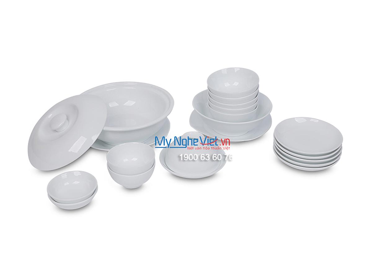 Bộ chén dĩa bàn ăn men trắng dành cho 6 người MNV-BBA01-12