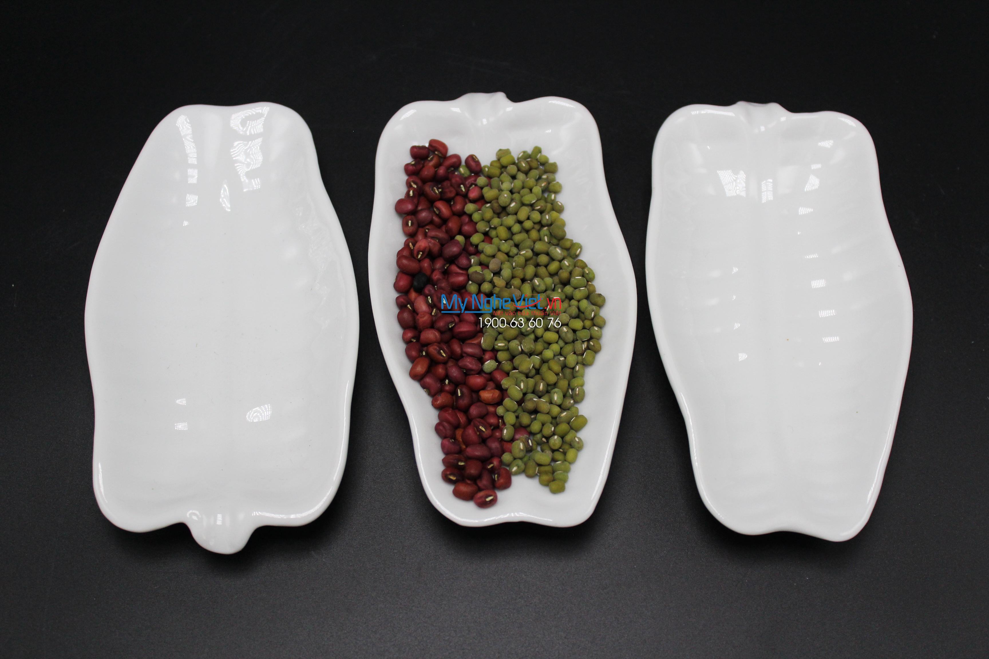 Dĩa lá chuối trắng nhỏ MNV-BA30/1