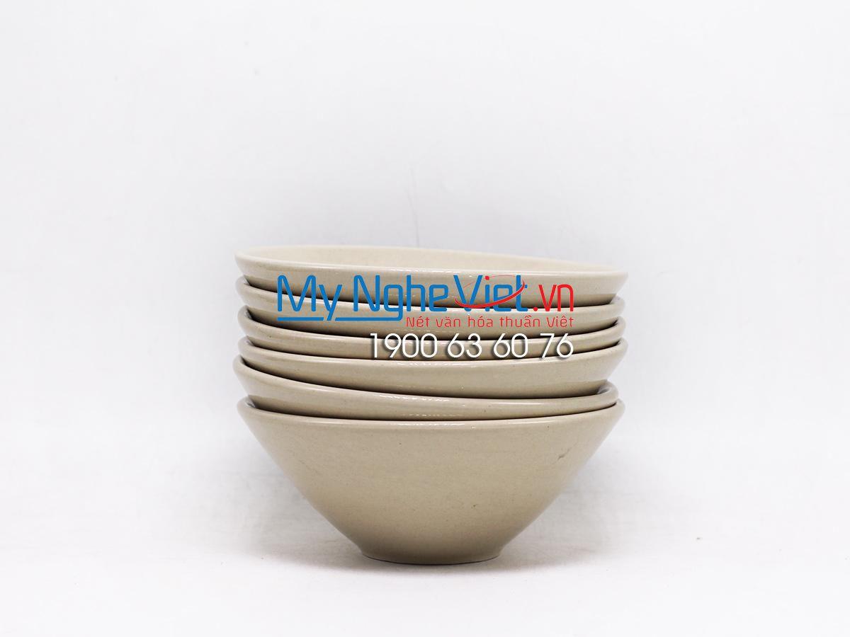 Bộ 6 chén men kem cao cấp Bát Tràng MNV-BBAK01