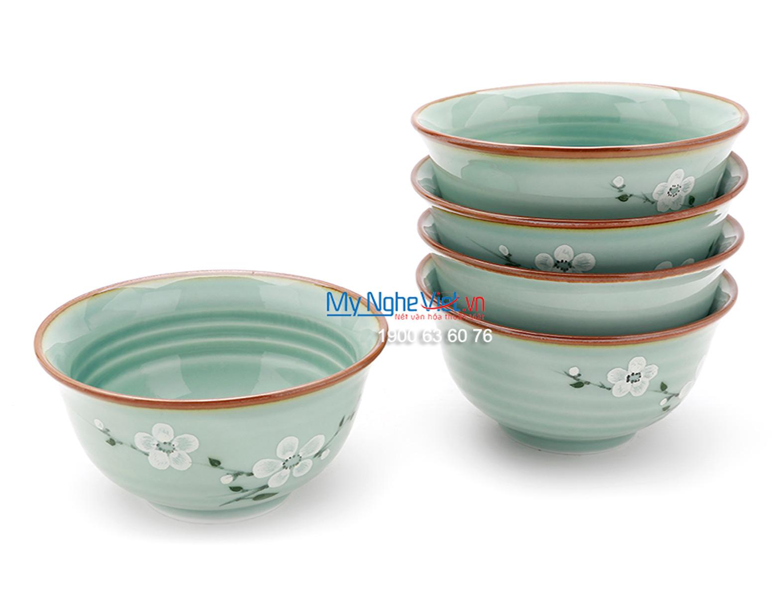 Chén ăn cơm loe men xanh láng vẽ hoa đào MNV-BA01-6