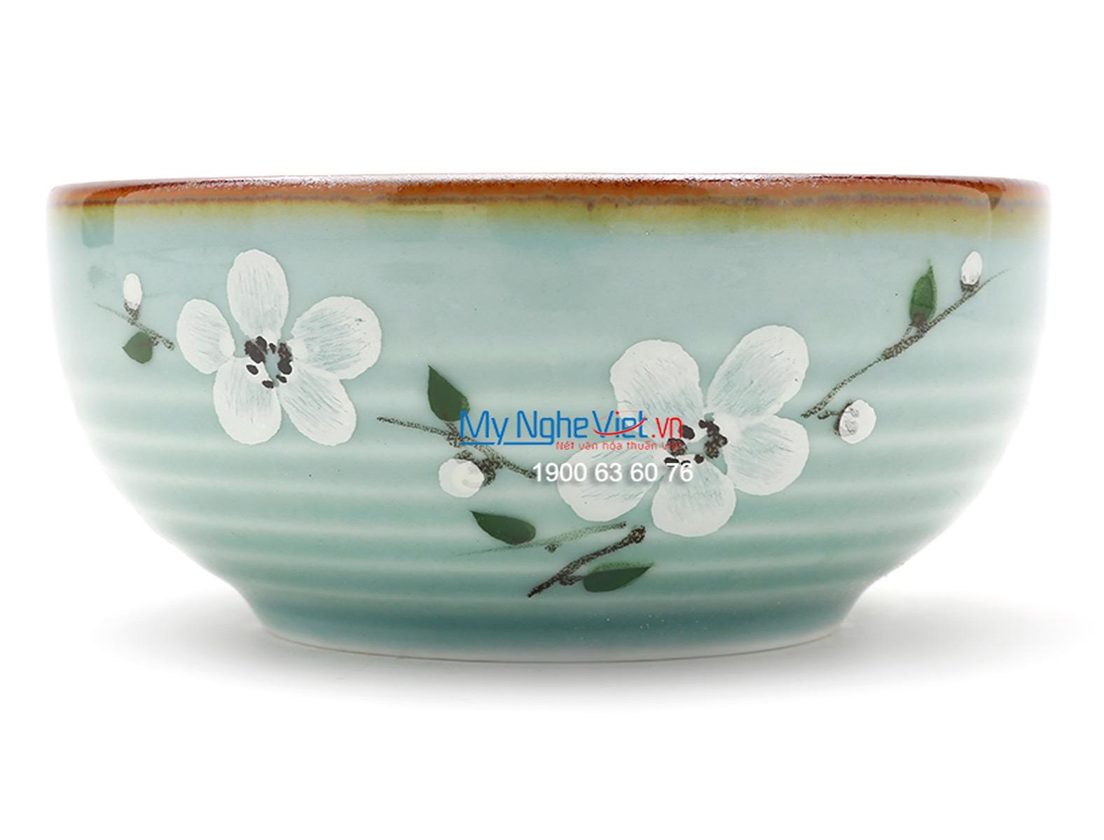 Chén ăn cơm kiểu Nhật men xanh láng vẽ hoa đào MNV-BA02-6