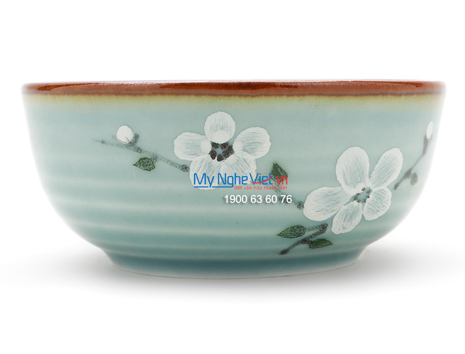 Bát mắm men xanh láng vẽ hoa đào MNV-BA03-6