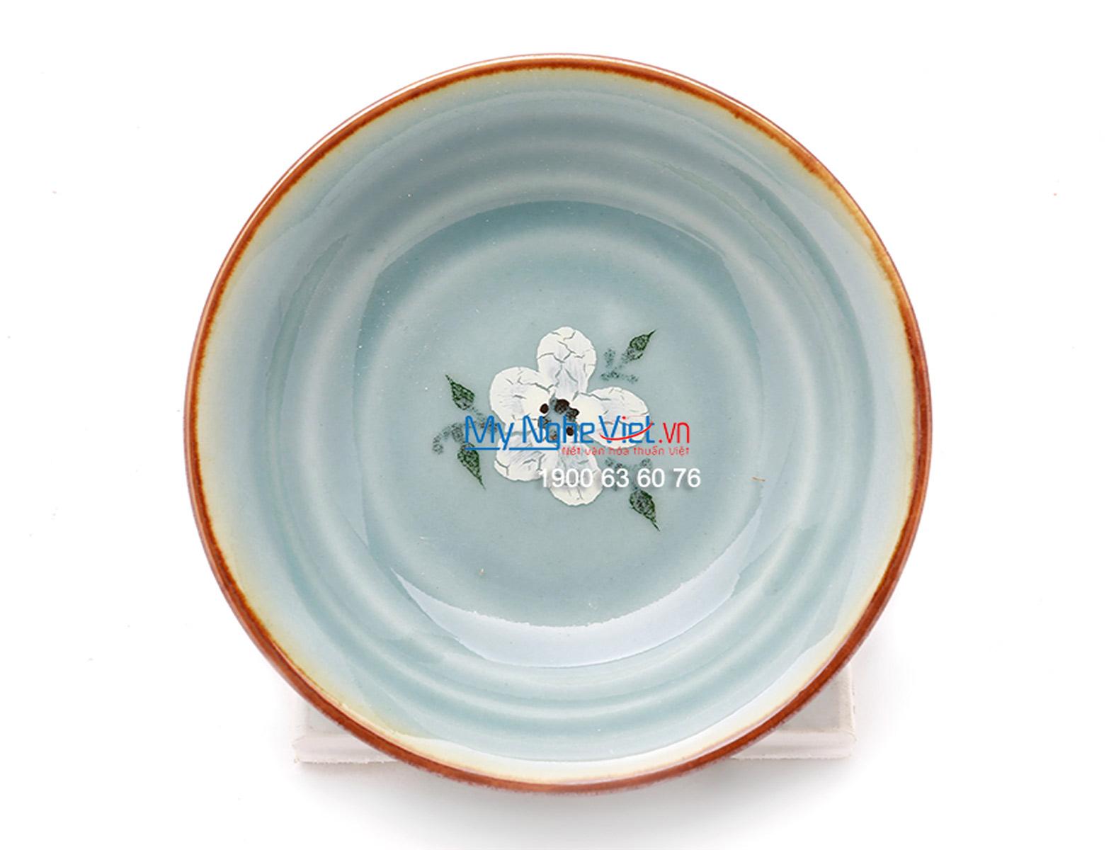 Đĩa muối men xanh láng vẽ hoa đào MNV-BA04-6