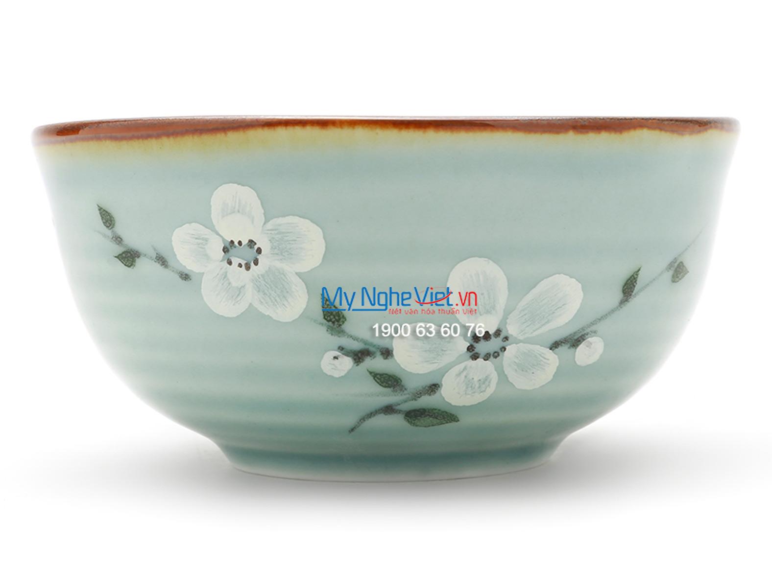 Bát súp men xanh láng vẽ hoa đào MNV-BA05-6