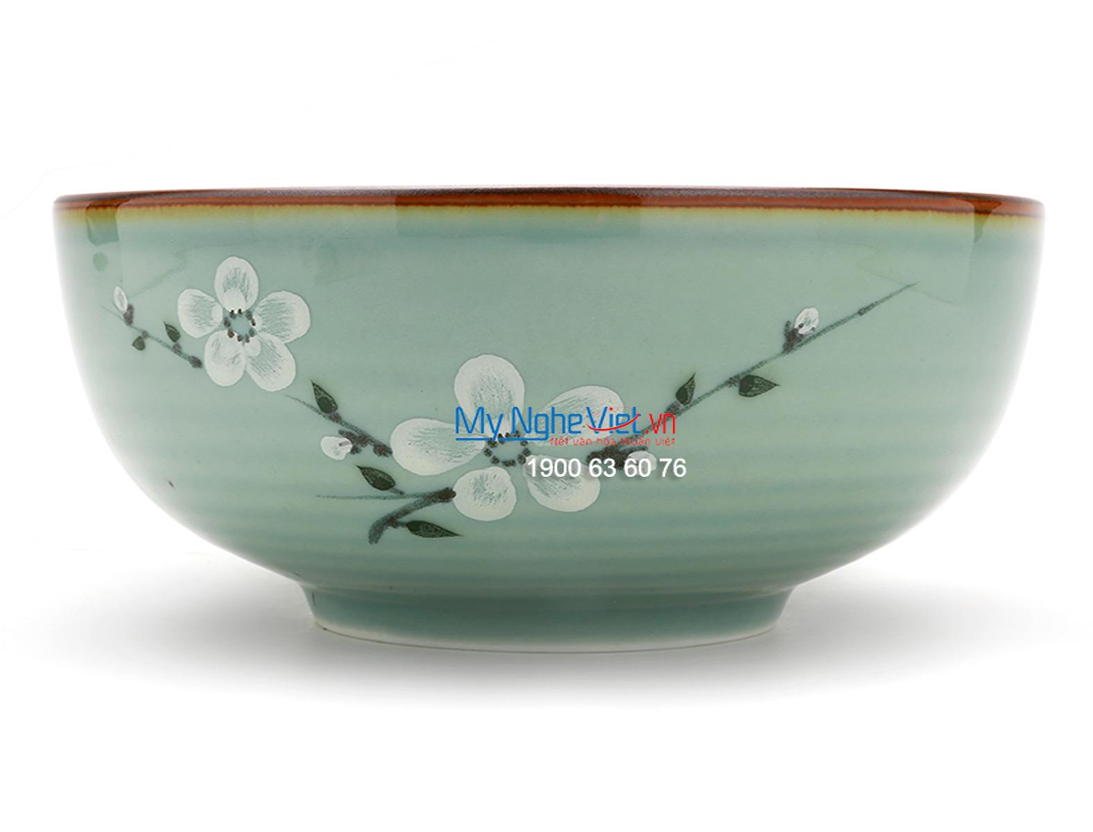 Bát tô men xanh láng vẽ hoa đào MNV-BA07-6