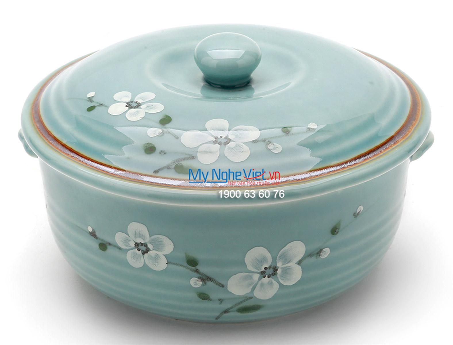 Âu cơm men xanh láng vẽ hoa đào MNV-BA13-6