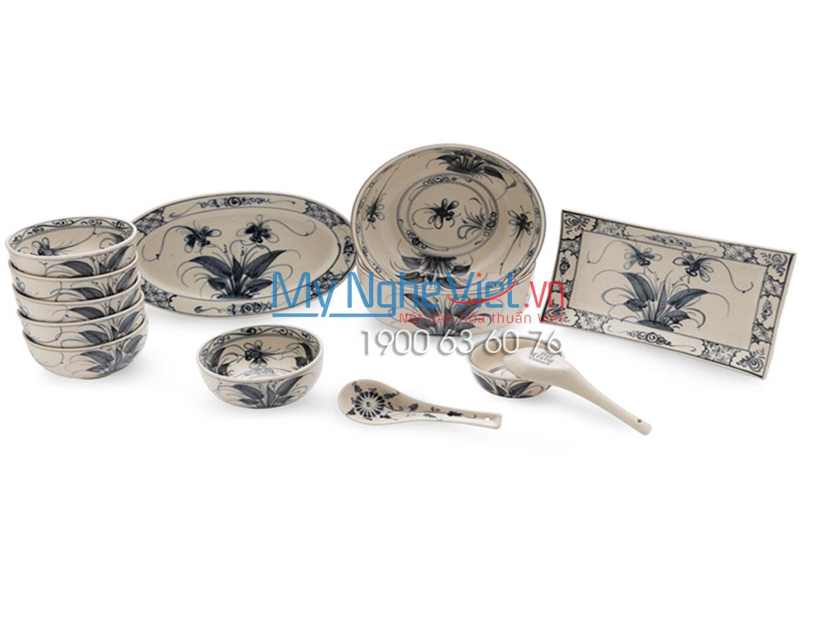 Bộ chén dĩa bàn ăn men rạn vẽ chuồn khoai Bát Tràng MNV-BBA02 Chuồn