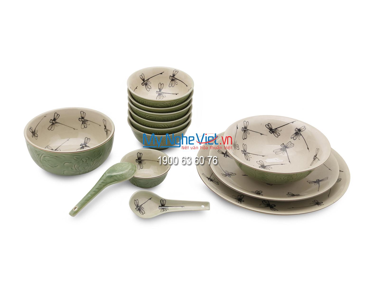 Bộ chén dĩa bàn ăn Bát Tràng men xanh đồng vẽ chuồn kim MNV-BBA3