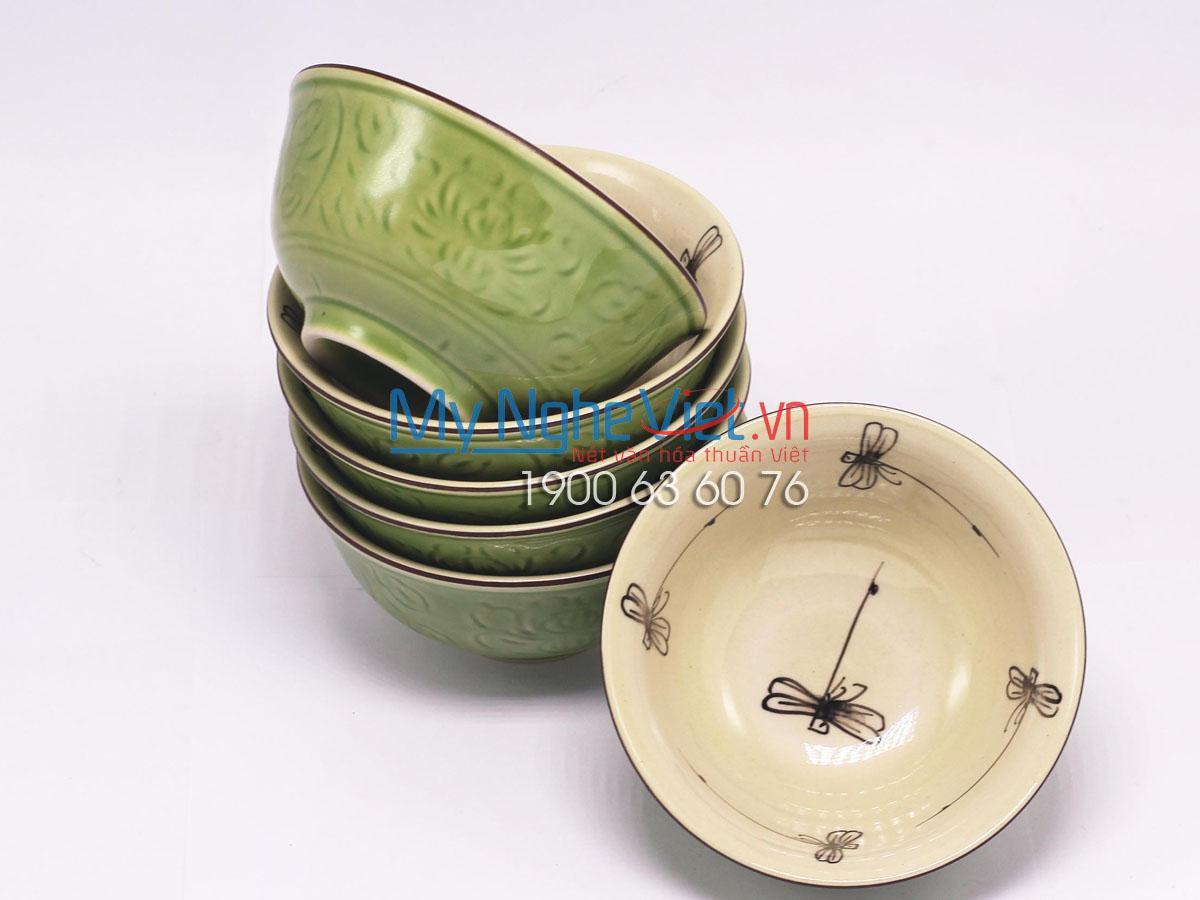 Bộ chén đĩa ( bộ bàn ăn) men xanh đồng vẽ chuồn chuồn MNV-MXH03