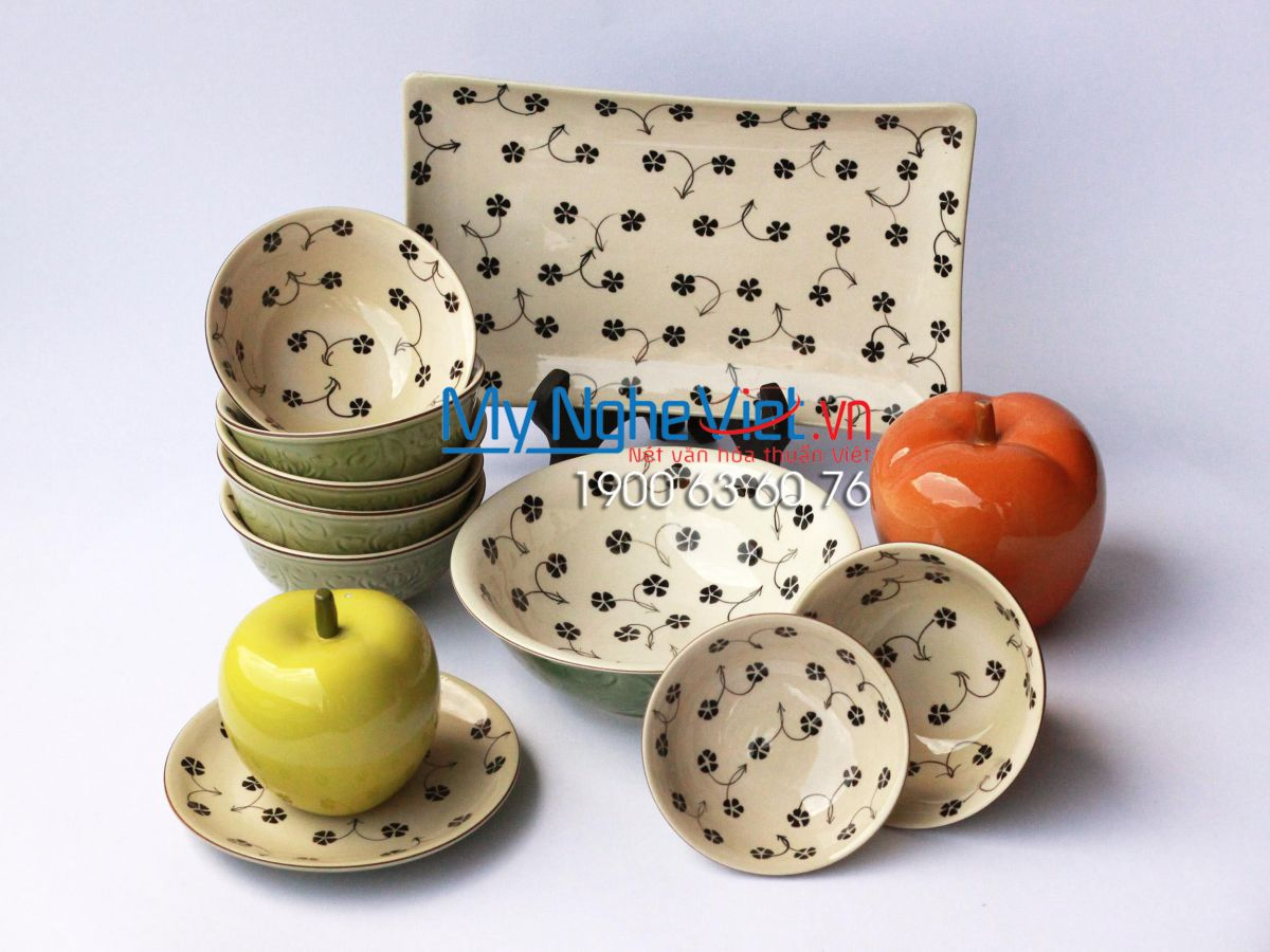 Bộ chén đĩa ( bộ bàn ăn) men xanh đồng vẽ hoa sao MNV-MXH032