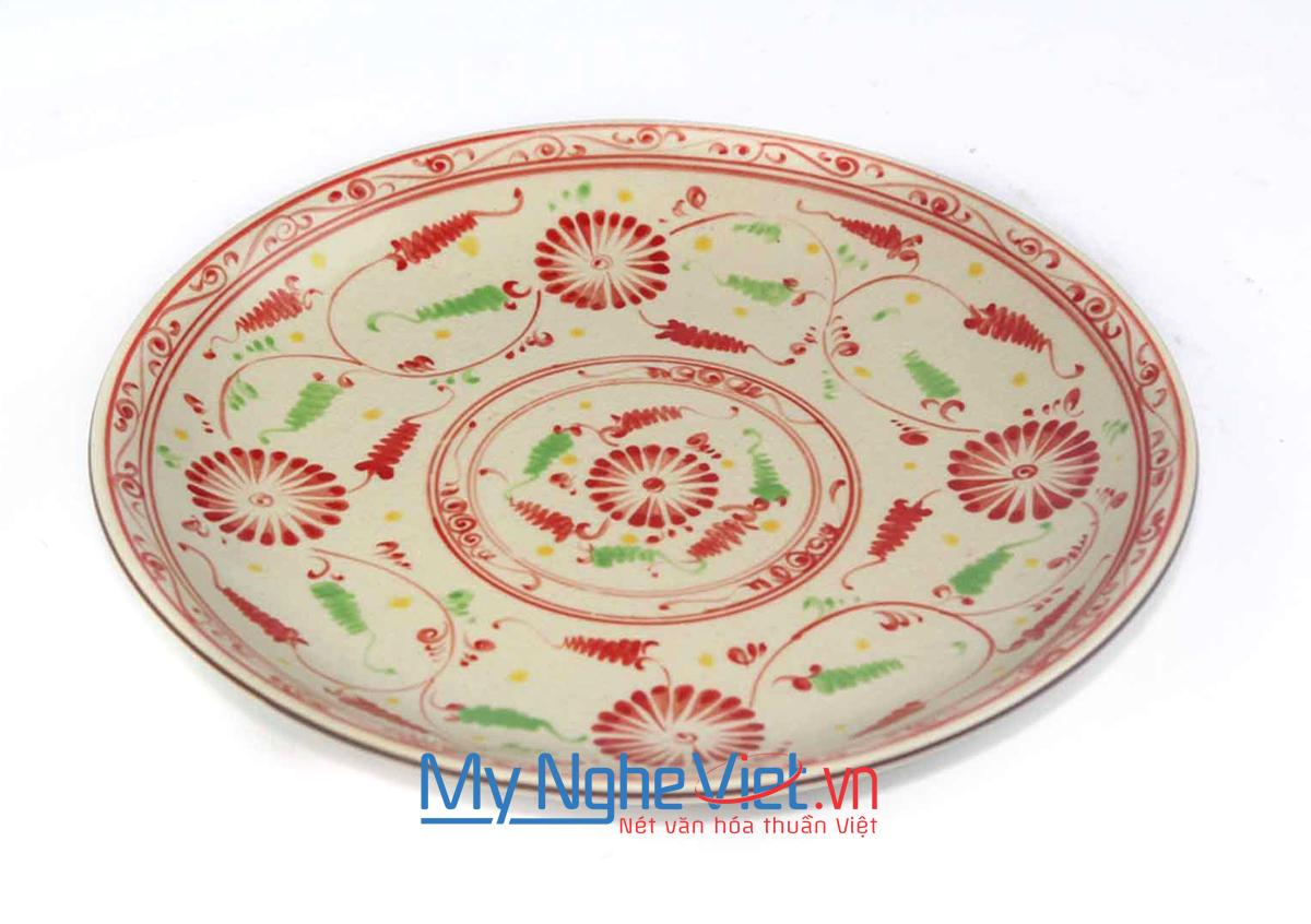 Đĩa tròn gốm Bát Tràng hoa văn bèo đỏ MNV-BOA01-2