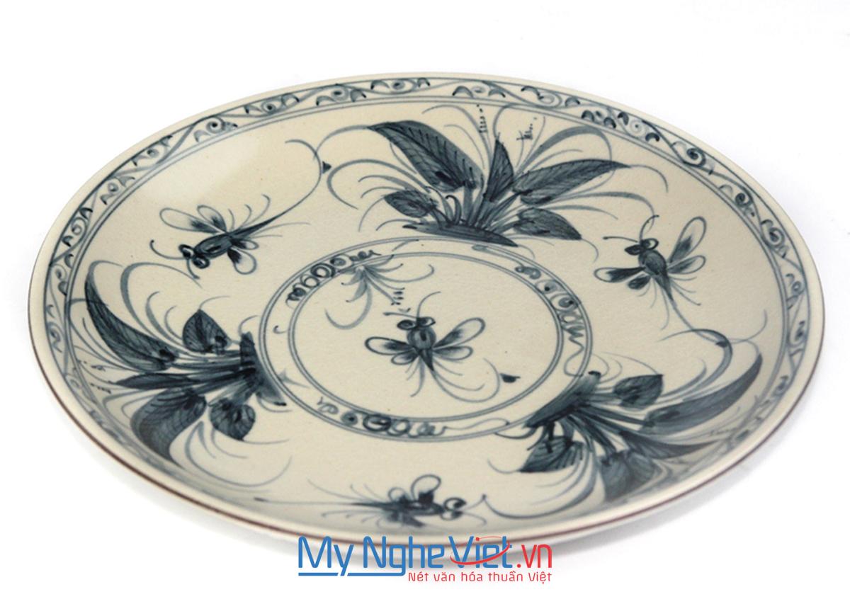 Đĩa tròn gốm Bát Tràng hoa văn Chuồn xanh MNV-BOA01-3