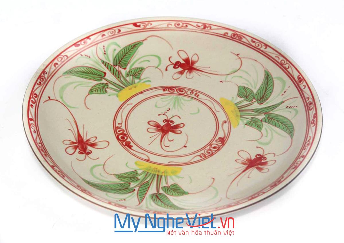 Đĩa tròn gốm Bát Tràng hoa văn Chuồn chuồn đỏ MNV-BOA01