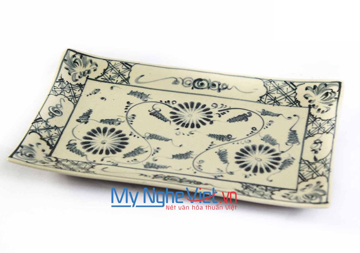 Khay chữ nhật hoa văn hoa cúc xanh MNV-BOA02-3