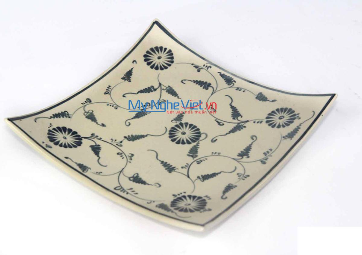Đĩa vuông gốm Bát Tràng hoa văn Hoa cúc xanh MNV-BOA03