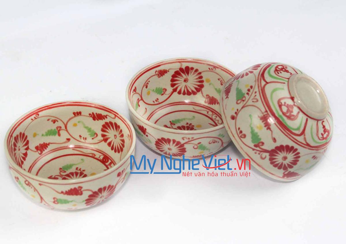 Chén cơm gốm Bát Tràng họa tiết hoa cúc đỏ MNV-BOA05-2