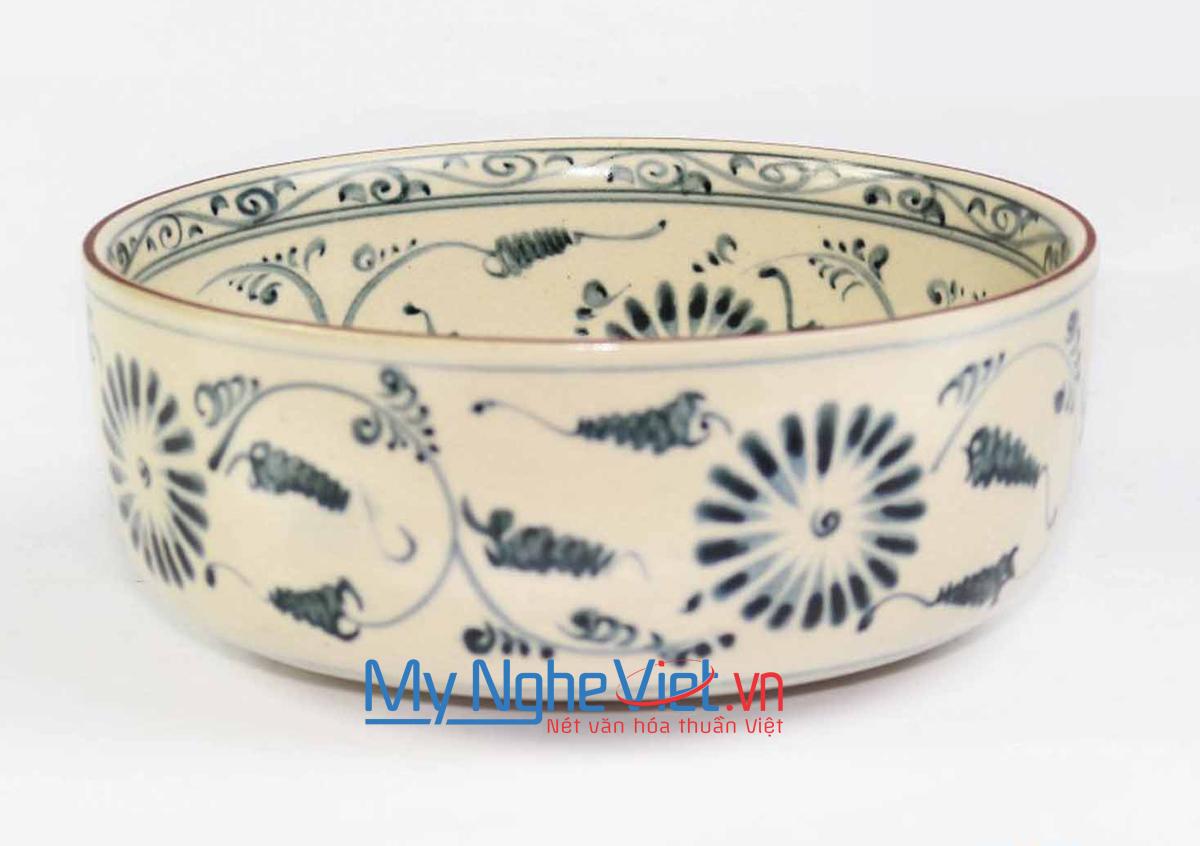 Tô mỳ thấp gốm Bát Tràng hoa văn hoa cúc MNV-BOA08-1