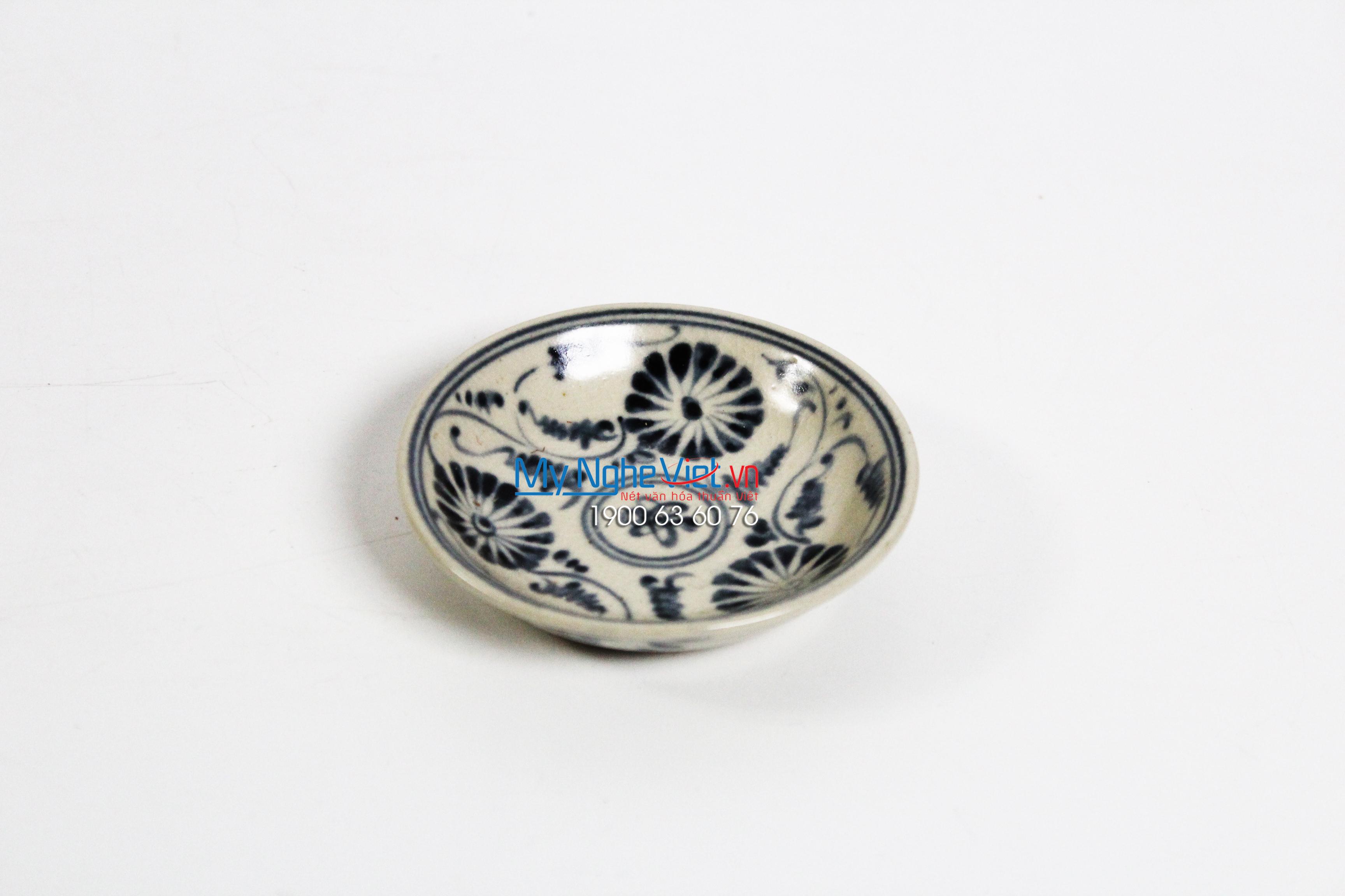 Đĩa muối gốm Bát Tràng hoa văn hoa cúc xanh MNV-BOA15-3