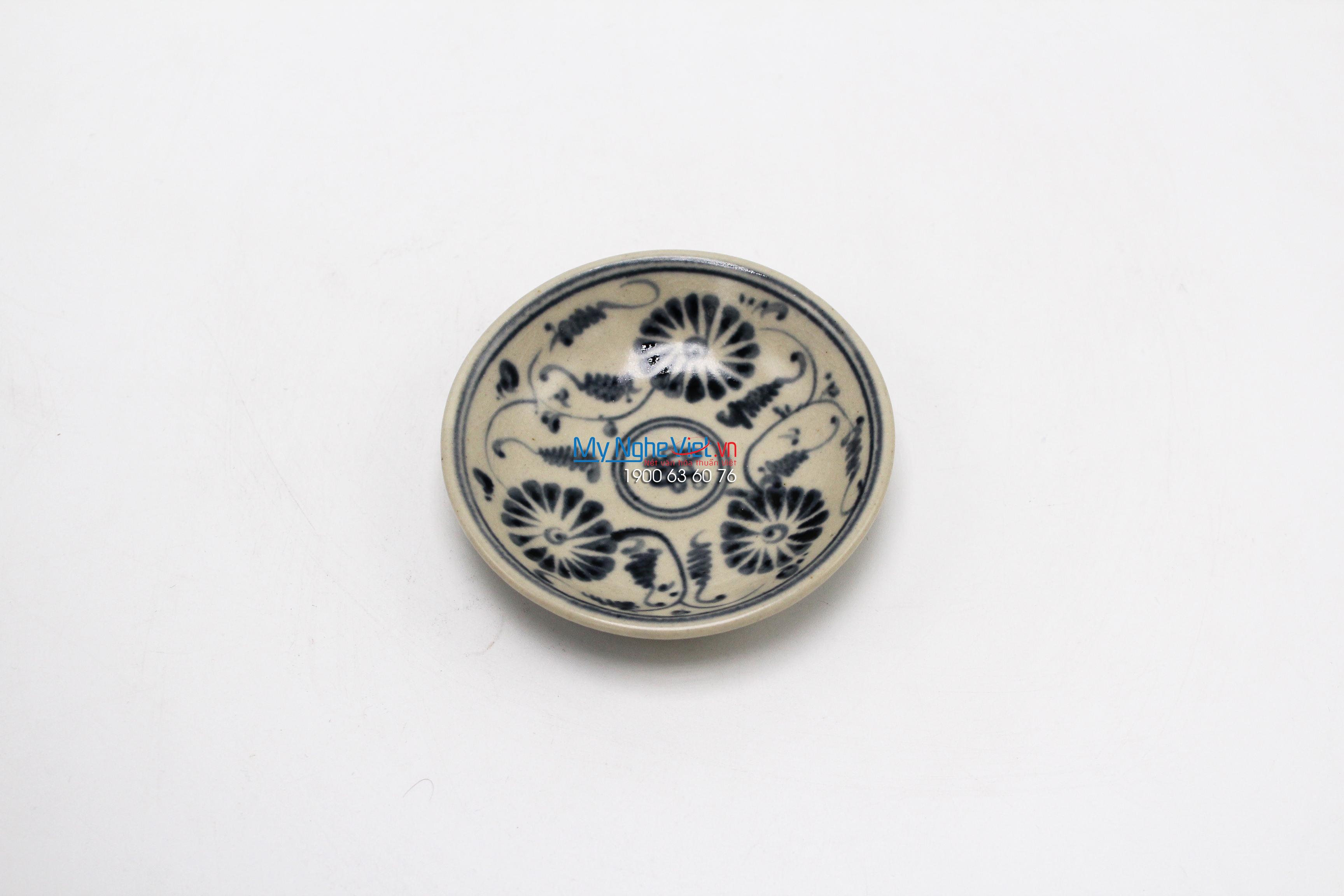 Dĩa muối gốm vẽ cúc xanh Bát Tràng MNV-BOA15-3