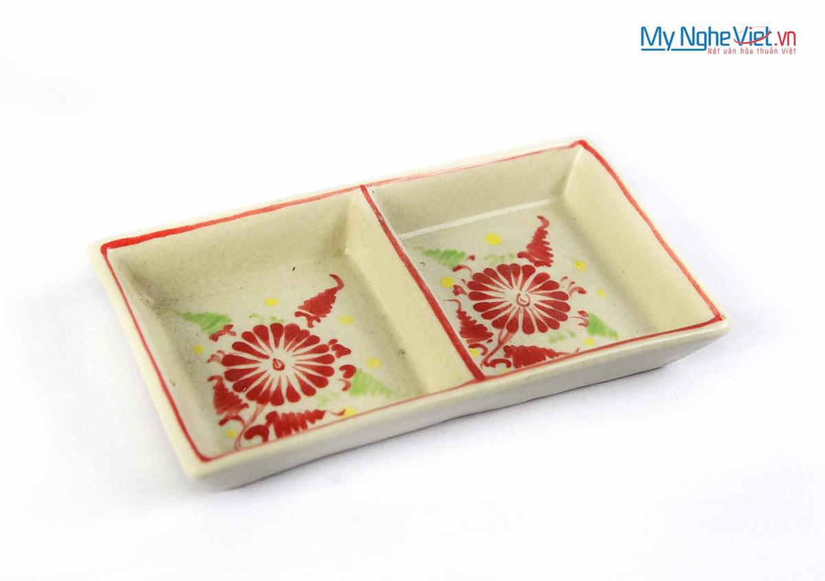 Đĩa muối hai ngăn gốm Bát Tràng hoa văn hoa cúc đỏ MNV-BOA15-1