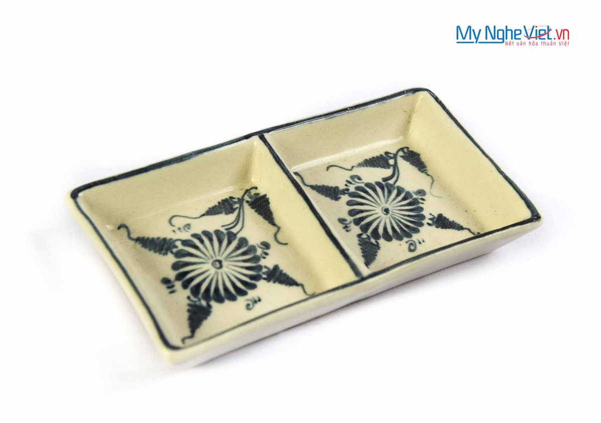 Đĩa muối hai ngăn gốm Bát Tràng hoa văn hoa cúc xanh MNV-BOA15-2
