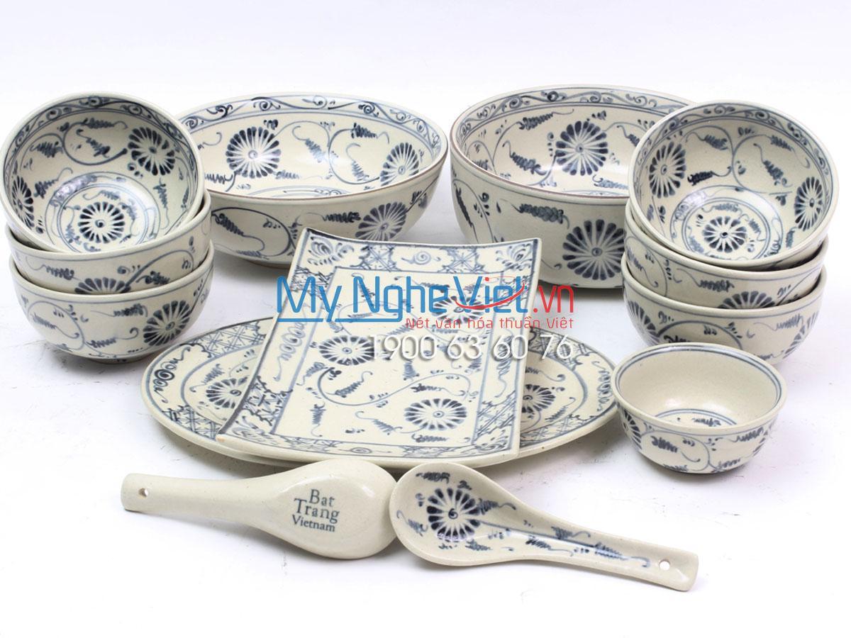 Bộ chén dĩa bàn ăn men rạn vẽ cúc Bát Tràng MNV-BBA02 Cúc